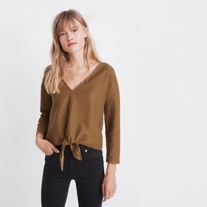 MADEWELL Long Sleeve Tie Front Top Olive green Q45